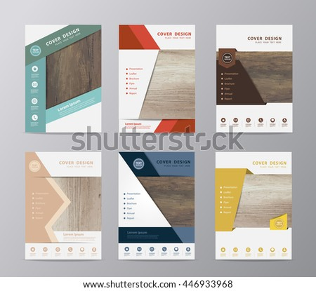 Annual report brochure flyer design template vector, Set of leaflet cover presentation wood texture background, layout in A4 size ( Image trace of wooden background ) - stock vector