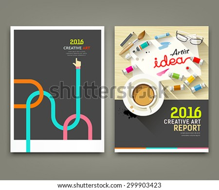 Annual report 2016 cover desk artist idea concepts with paintbrush, pencil, coffee cup, flat design background, vector illustration