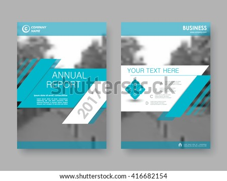 Annual report, flyer, brochure. Front page and back page, book cover layout design. Design layout template in A4 size . Turquoise version . - stock vector