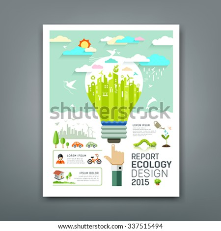 Annual Report light bulb environment creative design background, vector illustration - stock vector