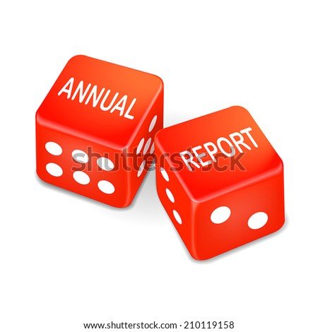 annual report words on two red dice over white background - stock vector