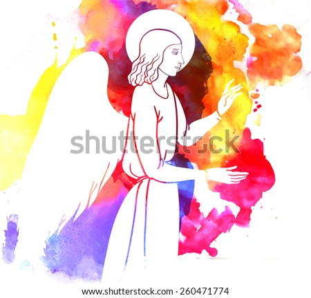 Annunciation angel on watercolor background - stock vector
