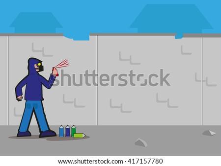 Anonymous Graffiti artist sprays unto an urban decaying wall. Editable Clip Art. - stock vector