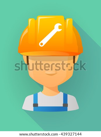 Anonymous male worker avatar wearing a safety helmet that shows a spanner
