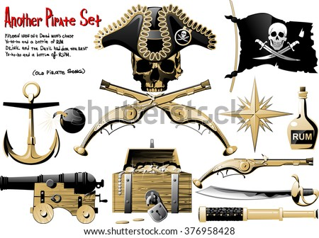 Another big Pirate Set with arms, treasures and pirate symbol - stock vector