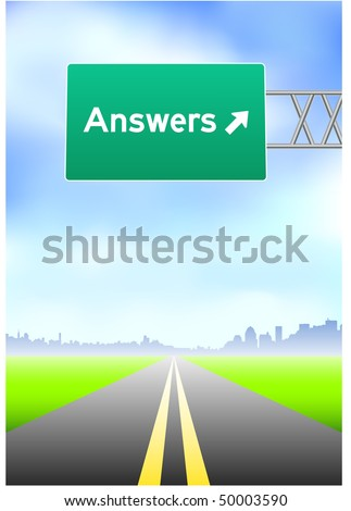 Answers Highway Sign Original Vector Illustration