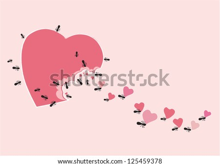 Ant with sweet heart - stock vector