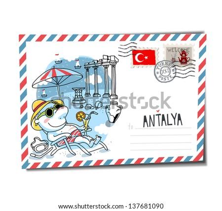 Antalya postcard - stock vector