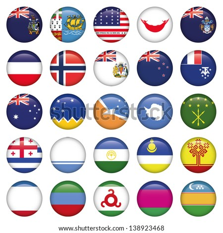 Antarctic and Russian Flags Round Buttons - stock vector