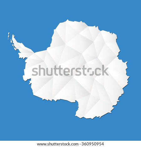 Antarctic continent highly detailed map. Vector. - stock vector