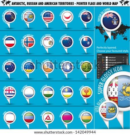 Antarctic, Russia America Territories Pointer Flag - stock vector