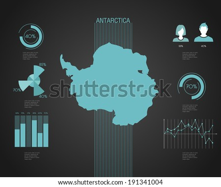 Antartica World map with different colored continents - Illustration - stock vector