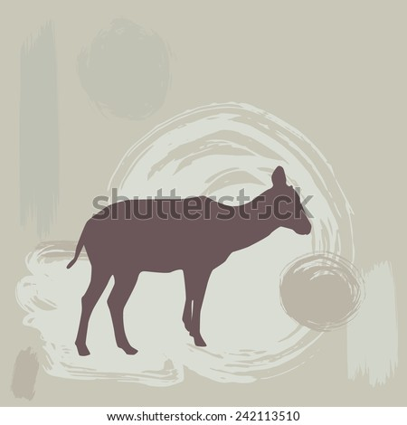 Antelope Fawn silhouette on grunge background. vector - stock vector