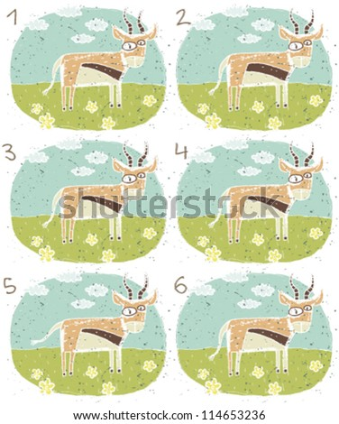 Antelope Puzzle ... Task: Find two identical images (match the pair)! ... Answer: No. 3 and 4