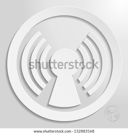 antenna circle eps10 vector icon, bright style for your design - stock vector