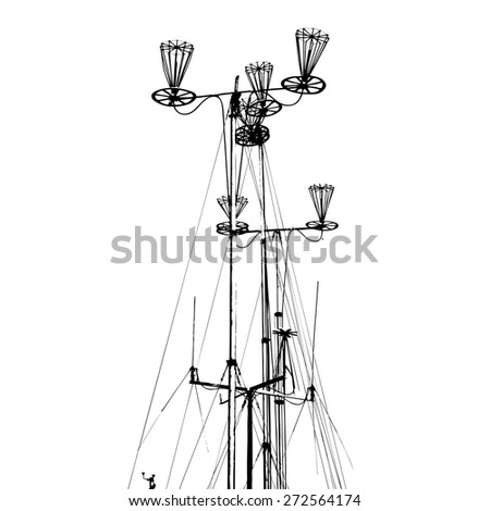 Antenna for transmitting and receiving radio communications. Vector illustration. - stock vector