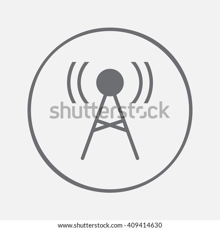antenna icon vector, solid illustration, pictogram isolated on gray - stock vector
