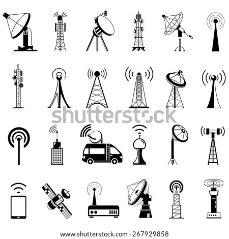 antenna icons, communication icons, satellite dishes - stock vector