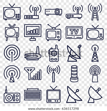 Antenna icons set. set of 25 antenna outline icons such as signal tower, satellite, business center building, signal, tv, tv, router, mobile signal, walkie talkie, transmitter