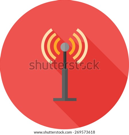 Antenna, signals, waves, beeper icon vector image. Can also be used for communication, connection, technology. Suitable for web apps, mobile apps and print media. - stock vector