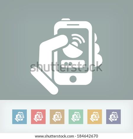 Antenna smartphone icon - stock vector