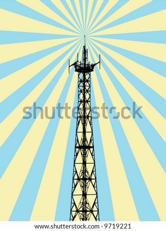 antenna spreading rays - stock vector