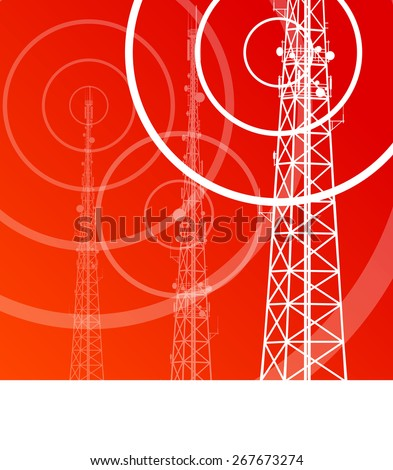 Antenna transmission communication tower vector background concept - stock vector