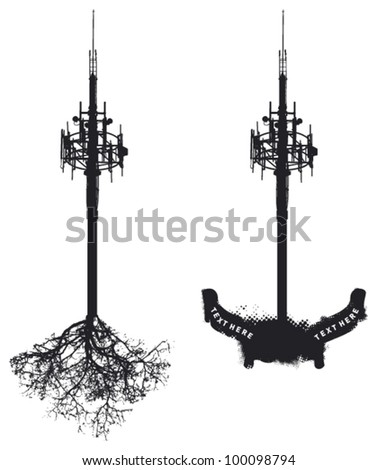 antenna with roots and banners - stock vector