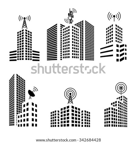 Antennas on buildings in the city icon set - stock vector