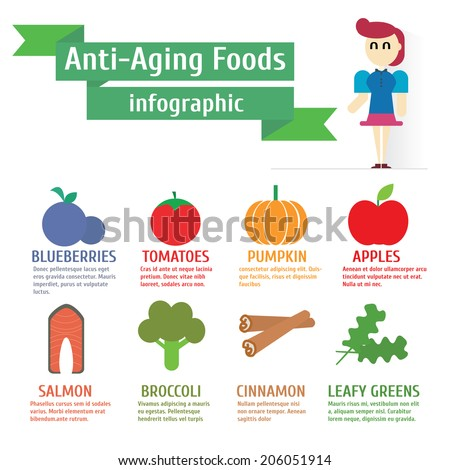 Anti-Aging Food,infographics,vector,illustration. - stock vector