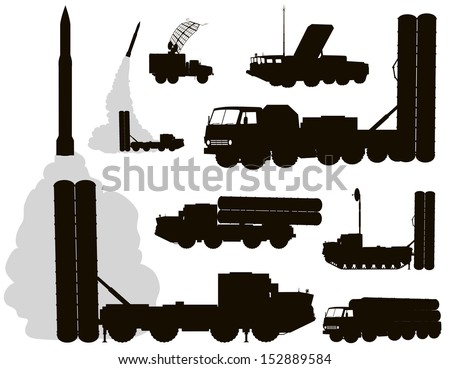 Anti-aircraft warfare silhouettes set#2. Vector on separate layers - stock vector
