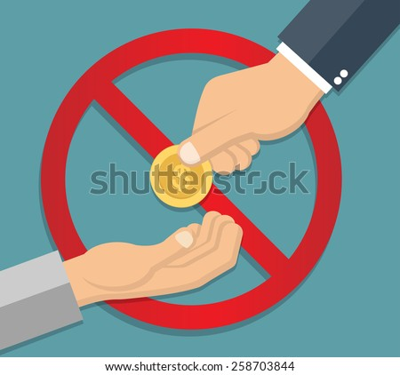 Anti begging concept in flat style - stock vector