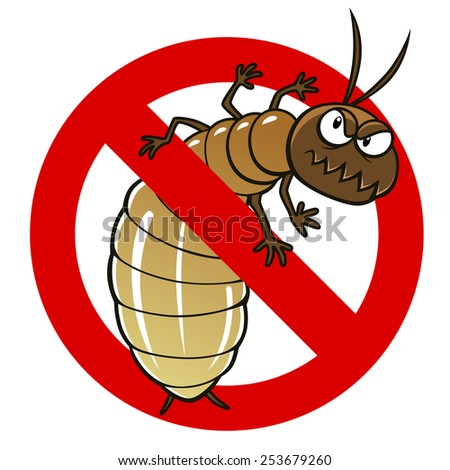 Anti pest sign with a funny cartoon termite. - stock vector