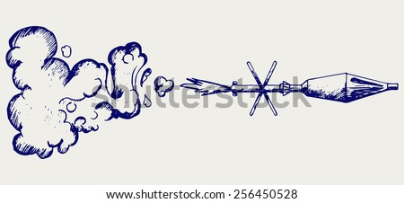 Anti-tank rocket propelled grenade launcher - RPG 7. Doodle style - stock vector