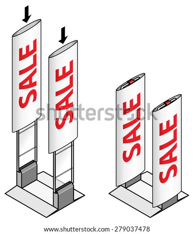 Anti-theft sensor gates commonly installed in shops/stores.Diagram shows installation of advertising banner sleeves. - stock vector