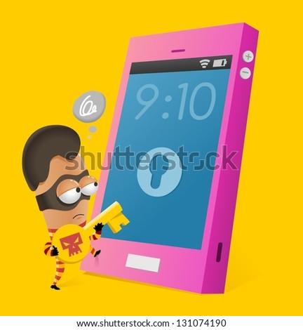 Anti-theft smartphone. Vector illustration - stock vector