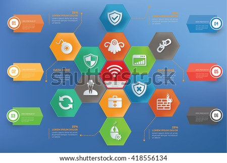Anti virus,computer concept info graphic design on blue background,vector - stock vector