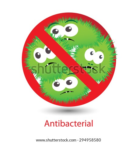 Antibacterial sign with a funny green cartoon bacteria. Isolated vector illustration. Bacteria kill symbol  - stock vector