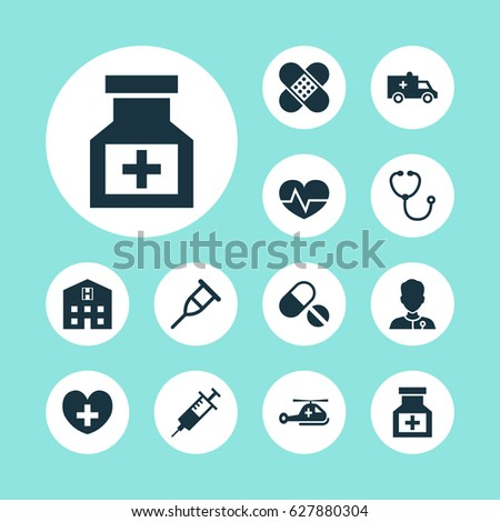 Antibiotic Icons Set. Collection Of Bandage, Copter, Bus Elements. Also Includes Symbols Such As Device, Stethoscope, Plaster.