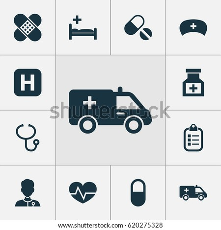 Antibiotic Icons Set. Collection Of Pills, Beating, Bandage Elements. Also Includes Symbols Such As Heartbeat, Hat, Cap.