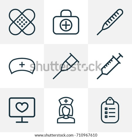 Antibiotic Outline Icons Set Collection Thermometer Stock Vector