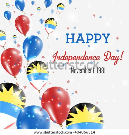 Antigua and Barbuda Independence Day Greeting Card. Flying Balloons in Antiguan, Barbudan National Colors. Happy Independence Day Antigua and Barbuda Vector Illustration.