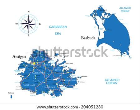 Antigua and Barbuda map - stock vector