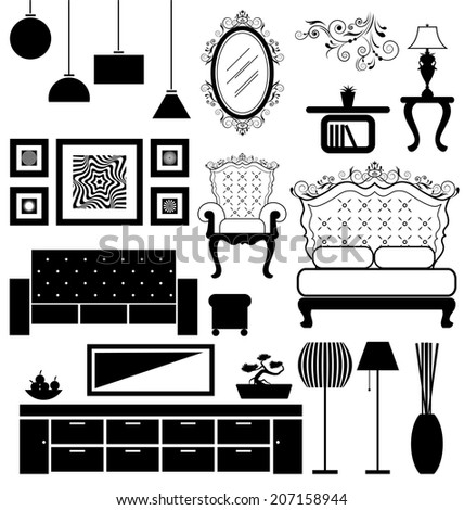 Antique and modern furniture vector