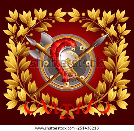 Antique arms and a laurel wreath. Vector illustration. - stock vector