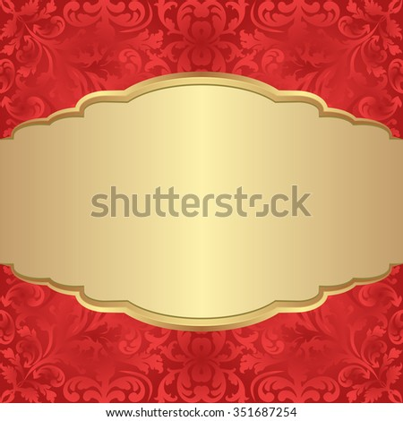 antique background with golden banner - stock vector