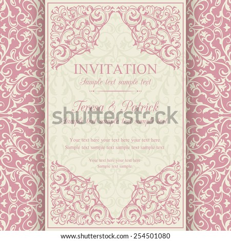 Antique baroque invitation card in old-fashioned style, pink and beige - stock vector