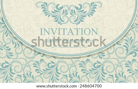 Antique baroque invitation envelope, blue on beige background