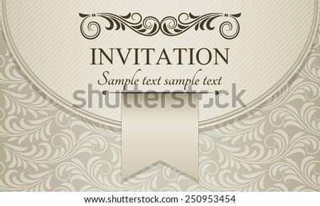 Antique baroque invitation envelope, brown on beige background - stock vector