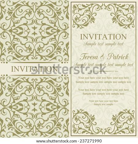 Antique baroque invitation, gold on beige background - stock vector